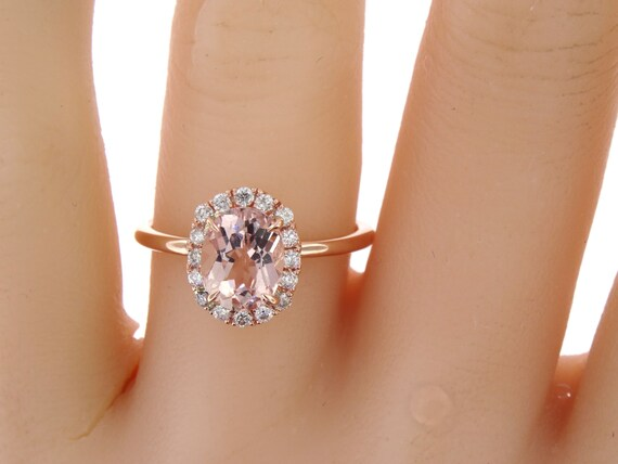 14K Rose Gold Diamond Oval Morganite Engagement Ring Wedding Ring Art Deco Ring Antique Promise Ring Classic Halo Yellow Gold White Gold
