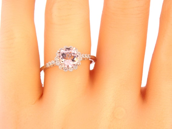 14K White Gold Diamond Round Morganite Engagement Ring Wedding Ring Art Deco Ring Antique Ring Promise Ring Pave Ring Yellow Gold Rose Gold