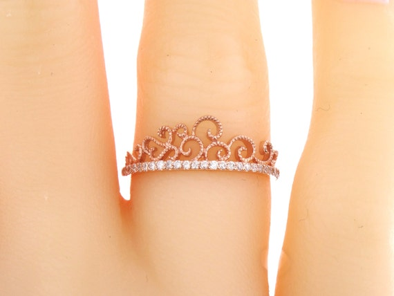 14K Rose Gold Diamond Crown Ring Fashion Ring Right Hand Ring Promise Ring Princess Ring Anniversary Band Wedding Band White Gold Yellow