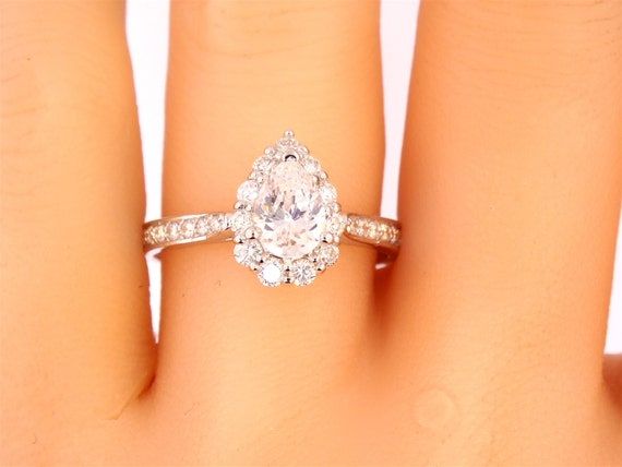 14K White Gold Pear Shape Diamond Halo Ring Art Deco Antique Engagement Ring Wedding Ring Birthstone Ring Promise Ring Rose Gold Yellow Gold