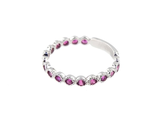14K White Gold Natural Pink Sapphire 3/4 Eternity Bezel Set Band Anniversary Band Birthstone Band Art Deco Band Stackable Band Antique Rose