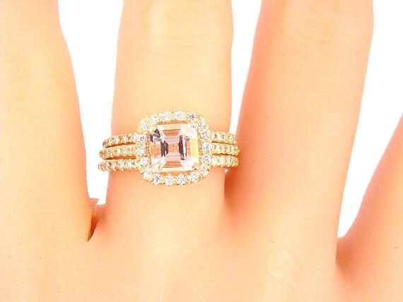 14K Yellow Gold Diamond and Cushion Cut Morganite 3 Piece Wedding Set Wedding Ring Engagement Ring Art Deco Antique Classic Halo White Gold