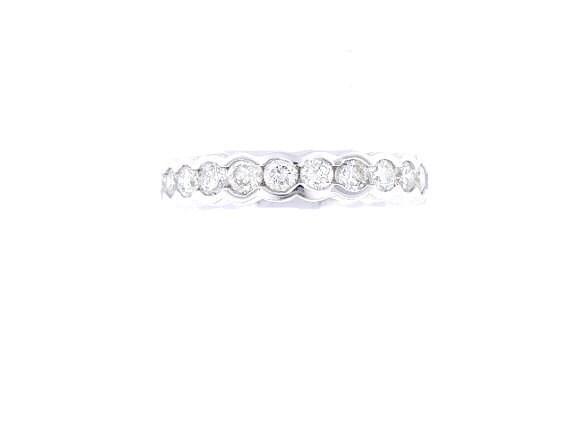 14K White Gold Diamond Half Bezel Set Eternity Band 2.05 Carats Wedding Band Engagement Band Promise Ring Fashion Ring Rose Gold Yellow Gold