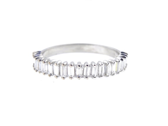 14K White Gold Art Deco Diamond Baguette Prong Band Wedding Band Anniversary Band Antique Band Stackable Band Angled Rose Gold White Gold