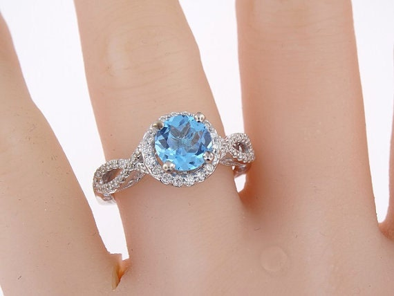 14K White Gold Diamond and Natural Blue Topaz Engagement Ring Wedding Ring Anniversary Ring Birthstone Ring Art Deco Ring Criss Cross Ring