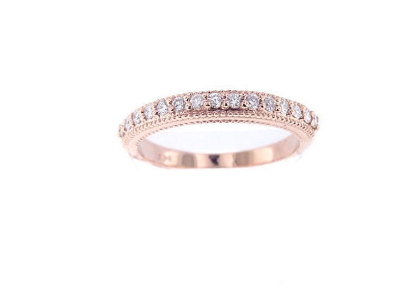14K Rose Gold Prong Set Art Deco Diamond Band Wedding Band image 0
