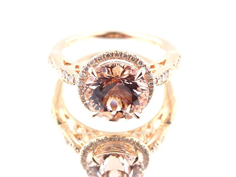 14K Rose Gold Diamond and Natural Morganite Halo Engagement image 0