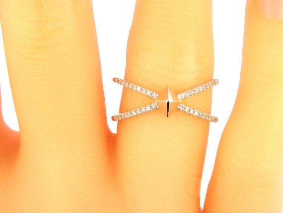 14k White Gold Diamond X Band Criss Cross Ring Wedding Ring Fashion Ring Anniversary Band Split Shank Yellow Gold Rose Gold Wedding Ring