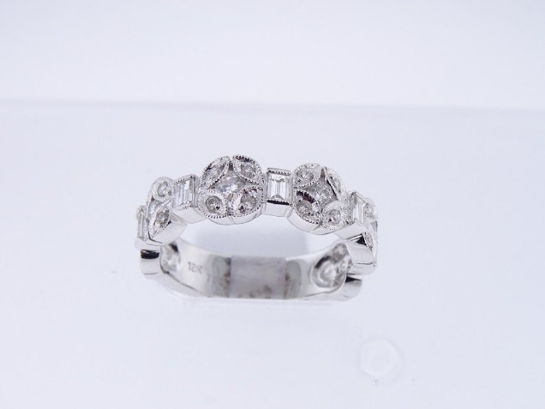 18K White Gold Round and Baguette Diamond Band 1.00 Carat image 0