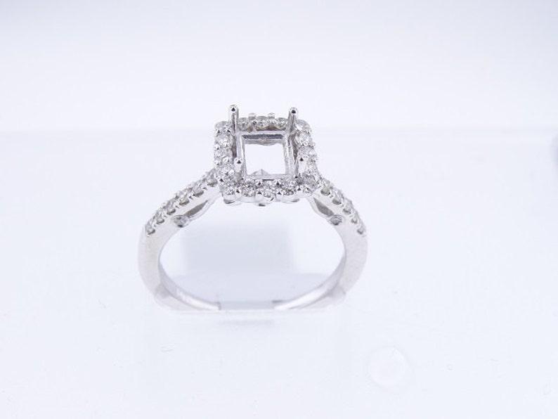 14K White Gold Diamond Halo Engagement Ring Wedding Ring Art image 0