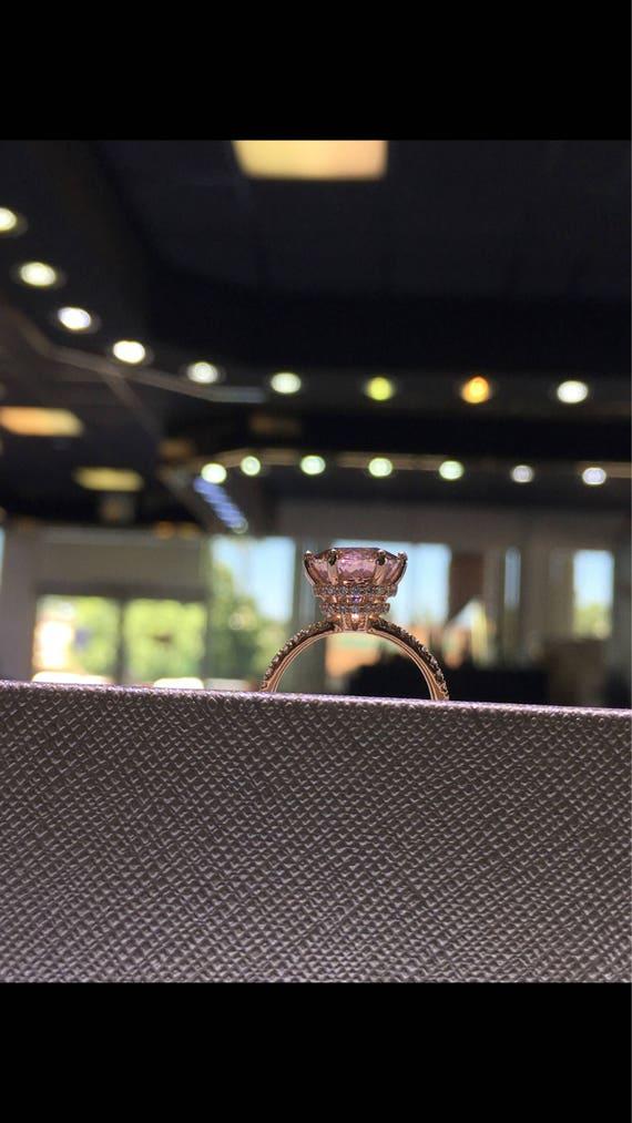 14 Karat Rose Gold Diamond Round Brilliant Shape Morganite Double Under Halo Wedding Ring Engagement Ring Promise Ring Anniversary Ring