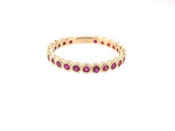 14K Yellow Gold Natural Ruby 3/4 Eternity Bezel Set Band Anniversary Band Birthstone Band Art Deco Band Stackable Band Antique Band White