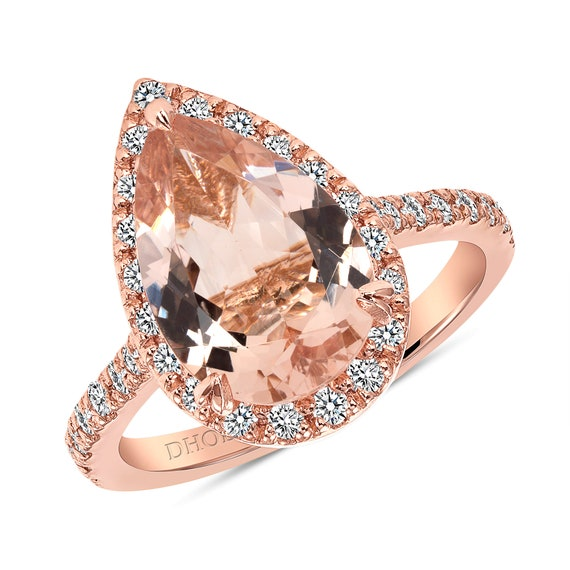 14K Rose Gold Natural Morganite and Diamond Halo Ring Pear Shape Art Deco Antique Engagement Ring Birthstone Ring Promise Ring White Gold