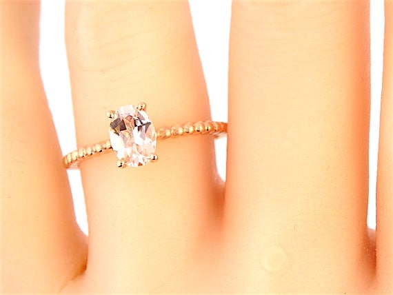 14K Rose Gold Oval Shape Morganite Engagement Ring Wedding Ring Promise Ring Birthstone Ring Art Deco Ring Solitaire Ring Yellow White Gold
