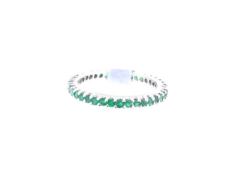 14K Full Eternity Natural Emerald 1.07 Carats Round Band image 0