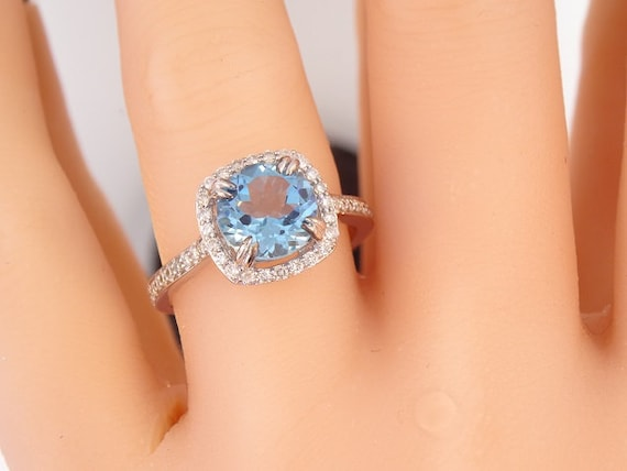14K White Gold Diamond and Natural Blue Topaz Halo Engagement Ring Wedding Ring Anniversary Ring Art Deco Ring Antique Ring Classic Halo