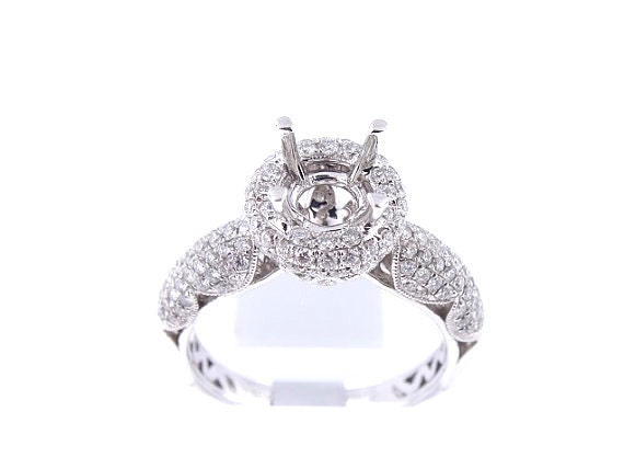 18K White Gold Diamond Halo Antique Engagement Ring 1.00 Carats - SJ4300RH
