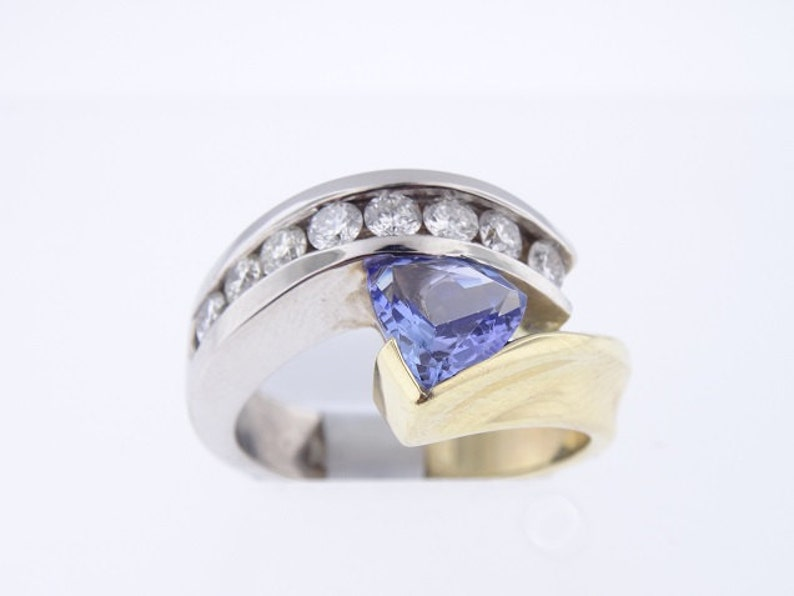 14K White and Yellow Gold Diamond and Natural Trillion Cut image 0
