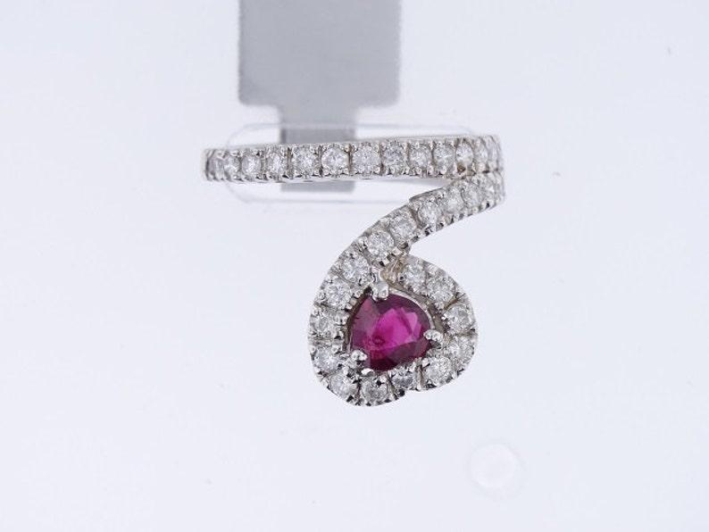 14K White Gold Diamond and Natural Ruby Ring  SJ1380RU image 0