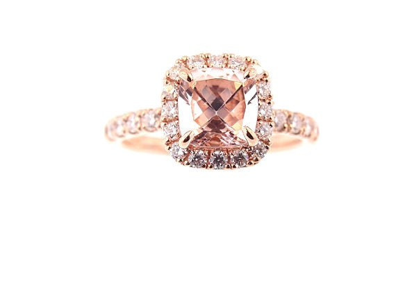 14K Rose Gold Diamond and Natural Cushion Cut Morganite Halo Engagement Ring Wedding Ring Antique Ring Anniversary Ring Promise Ring Classic