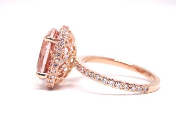 14K Rose Gold Oval Shape Morganite Diamond Engagement Ring Promise Ring Wedding Ring Anniversary Ring 18K Halo Ring White Gold Yellow Gold