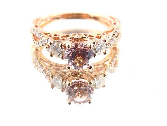 14K Rose Gold Diamond and Natural Morganite Engagement Ring Wedding Ring Art Deco Ring Antique Ring Promise Ring Infinity Ring Yellow White