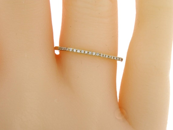 14K Yellow Gold Prong Set Half Eternity Diamond Band Wedding Band Anniversary Band Stackable Band Promise Band Rose Gold White Gold Platinum