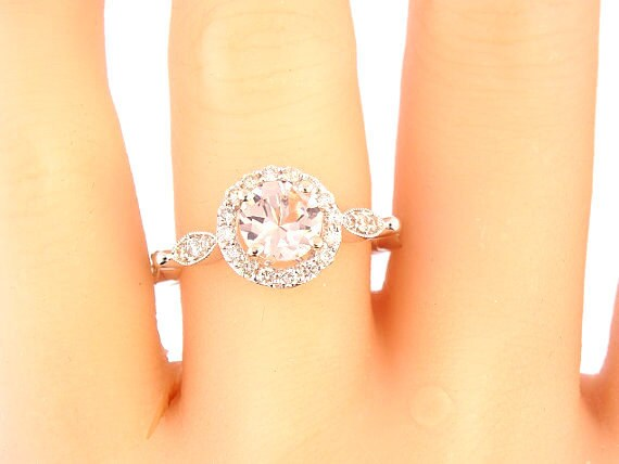 14K White Gold Round Brilliant Morganite & Diamond Halo Engagement Ring Anniversary Ring Wedding Art Deco Ring Antique Ring Rose White Gold