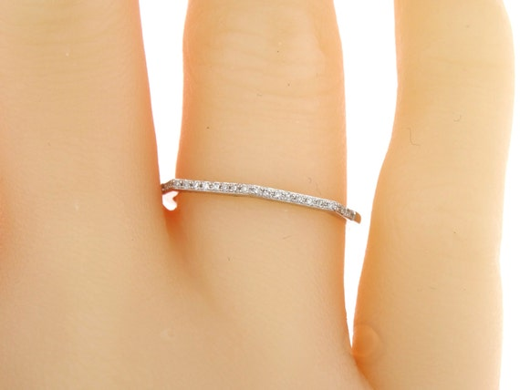 14K White Gold Prong Set Half Eternity Diamond Band Wedding Band Anniversary Band Stackable Band Promise Band Rose Gold Yellow Gold Platinum