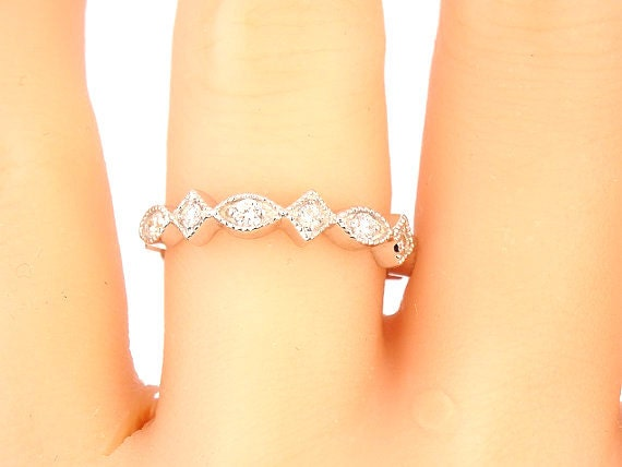 14K White Gold Half Eternity Diamond Band Anniversary Band Wedding Band Stackable Band Promise Ring Yellow Gold Rose Gold Platinum 18K - SJ1