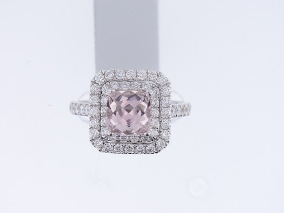 14K White Gold Cushion Cut Natural Morganite Diamond Engagement Ring Halo Classic Wedding Ring Anniversary Ring Bridal Wedding Rose Gold