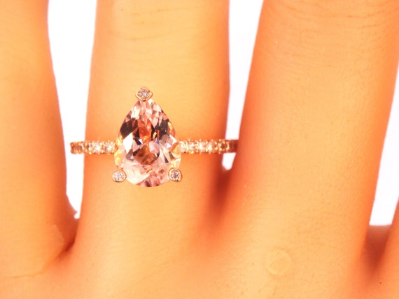 14K Rose Gold Pear Shape Morganite and Diamond Engagement Ring Wedding Ring Anniversary Ring Promise Ring Solitaire Ring Yellow Gold White