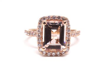 14K Rose Gold Emerald Cut Morganite and Diamond Halo Engagement Ring Wedding Ring Anniversary Ring Promise Ring Solitaire Ring Gold White