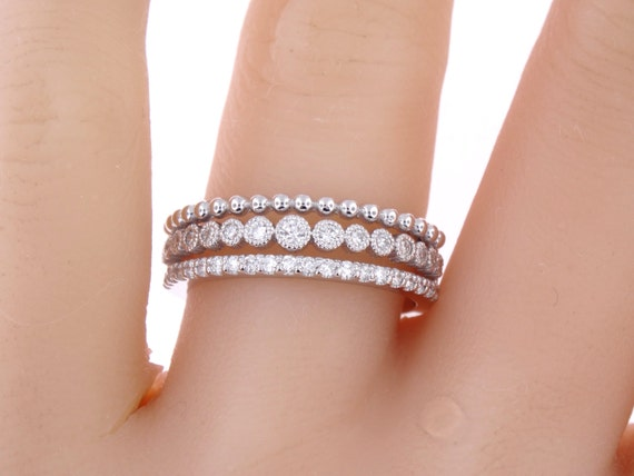 14K White Gold Art Deco Diamond Band Wedding Band Anniversary Band Antique Band Stackable Band Promise Band Engagement Rose Gold Yellow Gold