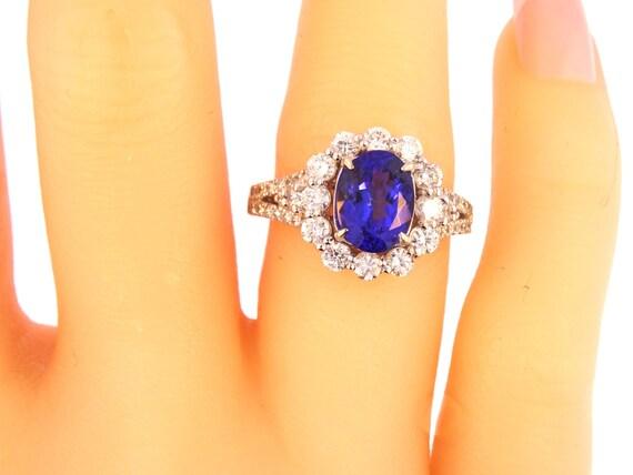 14K White Gold Oval Shape Tanzanite Diamond Engagement Ring Birthday Stone Anniversary Ring Promise Ring Art Deco Antique Yellow White Gold
