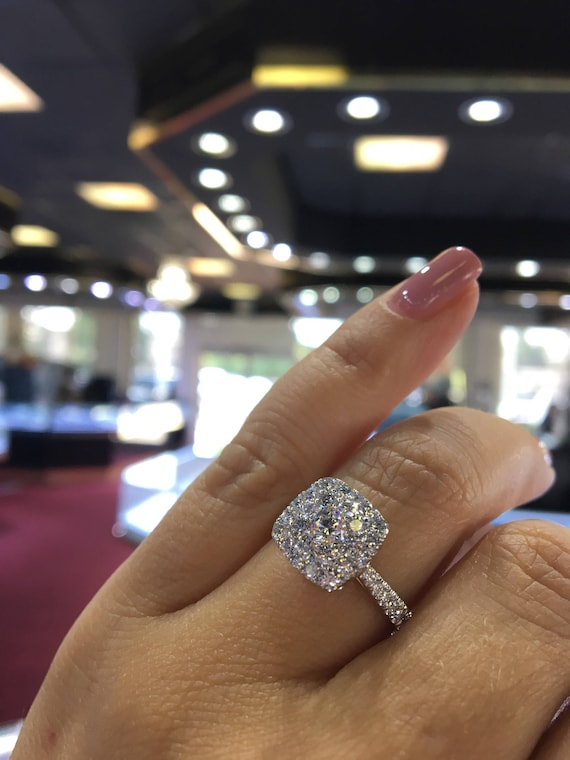 14K White Gold Cushion Shape Halo Cluster Engagement Ring Anniversary Ring Wedding Ring Promise Ring Bridal Ring Solitaire Ring Rose Gold