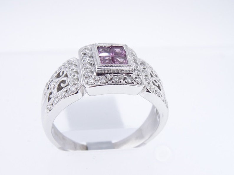 14K White Gold Diamond and Pink Sapphire Ring Antique Ring Art image 0