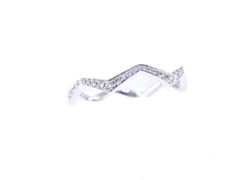 14K White Gold Diamond Stackable Band Anniversary Band Promise image 0