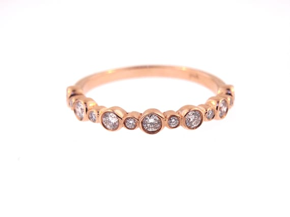 14K Rose Gold Bezel Set Half Eternity Band Stackable Band Wedding Band Anniversary Band Promise Ring Yellow Gold White Gold Art Deco 18K