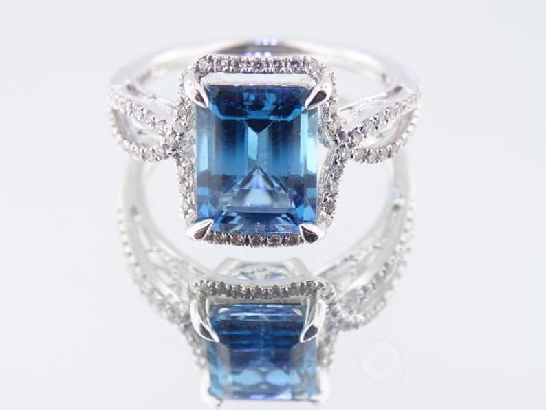14K White Gold Diamond and Natural Blue Topaz Ring Wedding image 0