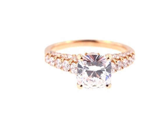 14K Rose Gold Natural Cushion Cut Diamond Engagement Ring Wedding Ring Promise Ring Anniversary Ring Antique Art Deco Ring White Yellow Gold