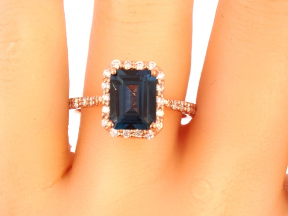 14K Rose Gold Emerald Cut London Blue Topaz Diamond Engagement Ring Wedding Ring Anniversary Ring Promise Ring Art Deco Yellow Gold White