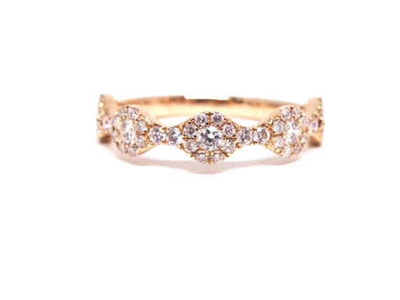 14K Rose Gold Halo Diamond Band Wedding Engagment Ring Promise Ring Anniversary Ring Infinity Band White Gold Yellow Gold Art Deco Halo Band