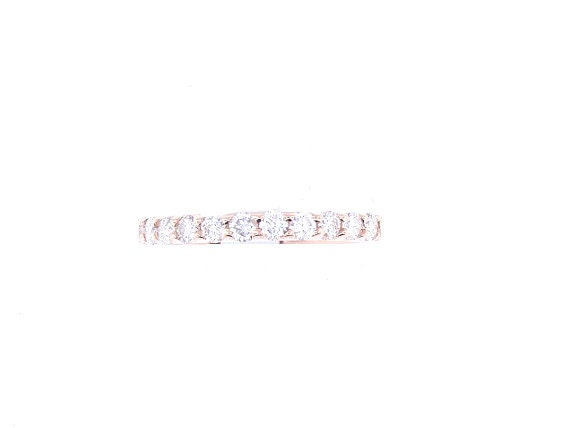 14K Rose Gold Diamond Prong Set Band Wedding Band Engagement Band Anniversary Band Stackable Ring Promise Ring Yellow Gold White Gold 18K