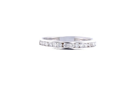 0691128b 14K White Gold Half Eternity Channel Set Diamond Band Wedding Band ...