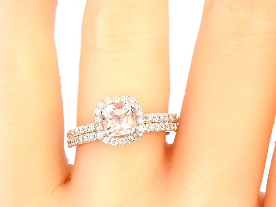 14K White Gold Morganite Diamond Halo Engagement Set Wedding Set Engagement Set Anniversary Set Promise Ring Yellow Gold Rose Gold Art Deco