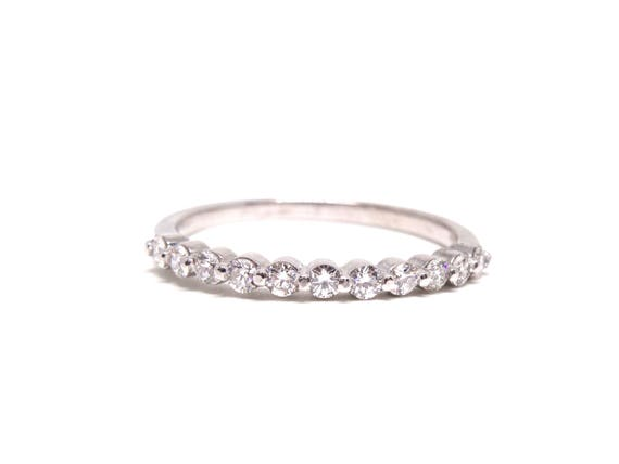 14K White Gold Single Prong Diamond Band Anniversary Band Wedding Band Promise Ring Stackable Band Rose Gold Yellow Gold Platinum 18k