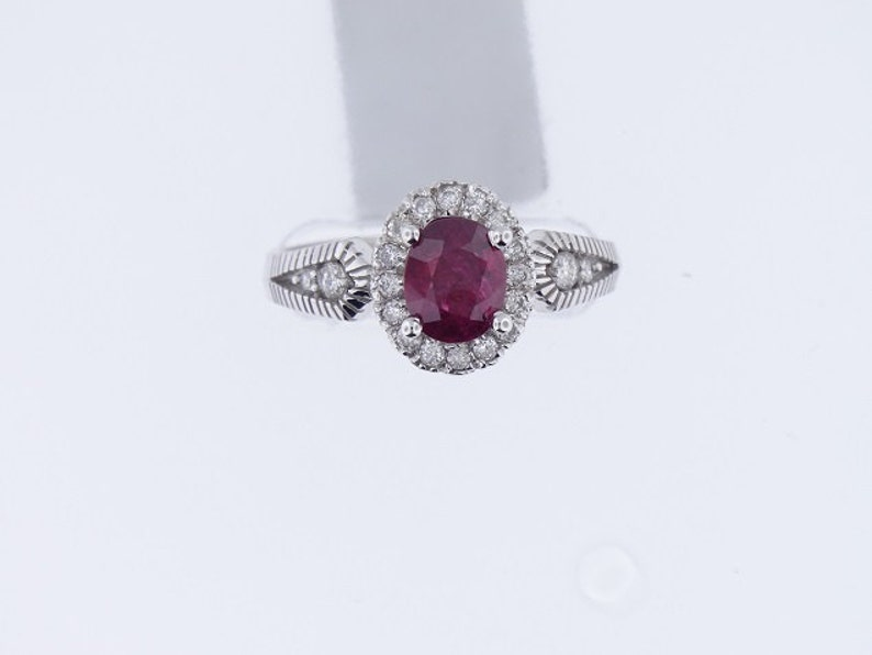 14K White Gold Oval Shape Ruby Diamond Halo Ring Art Deco image 0