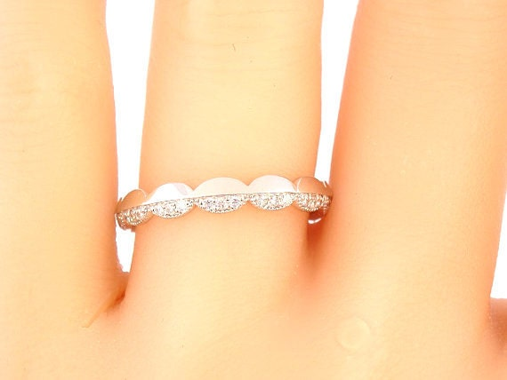 14K White Gold Diamond Wedding Band Art Deco Band Antique Band Anniversary Band Engagement Band Stackable Band Yellow Gold Rose Gold Promise