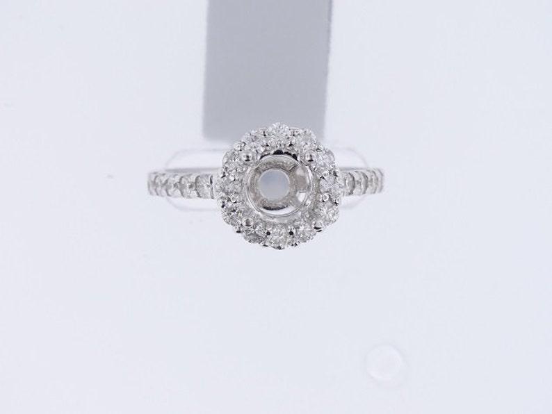 14K White Gold Diamond Halo Prong Set Engagement Ring 1.00 image 0